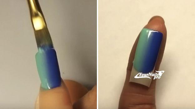 Градиент на ногтях кистью