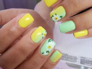 Ромашковый дизайн на короткие ногти