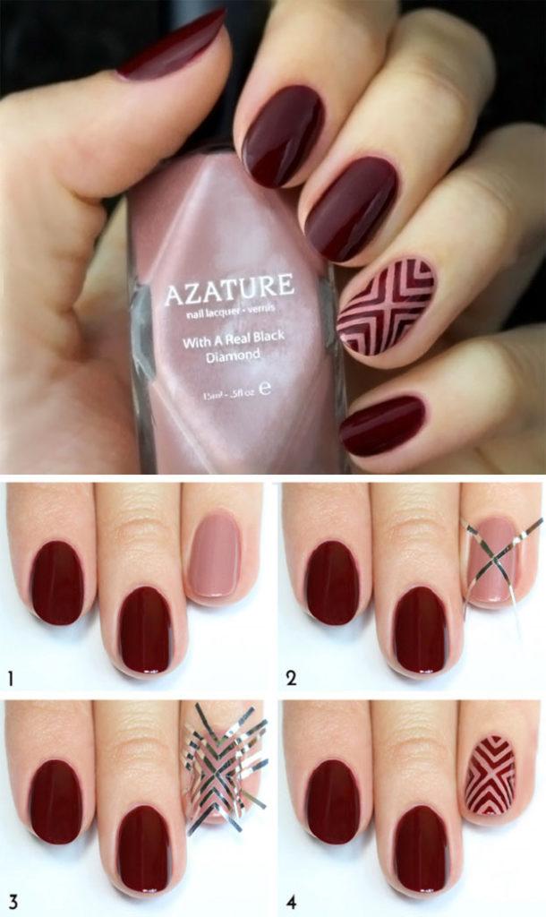 Бордовый дизайн на короткие ногти пошагово