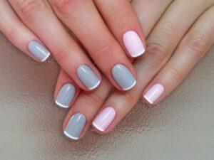 Цветной френч на короткие ногти