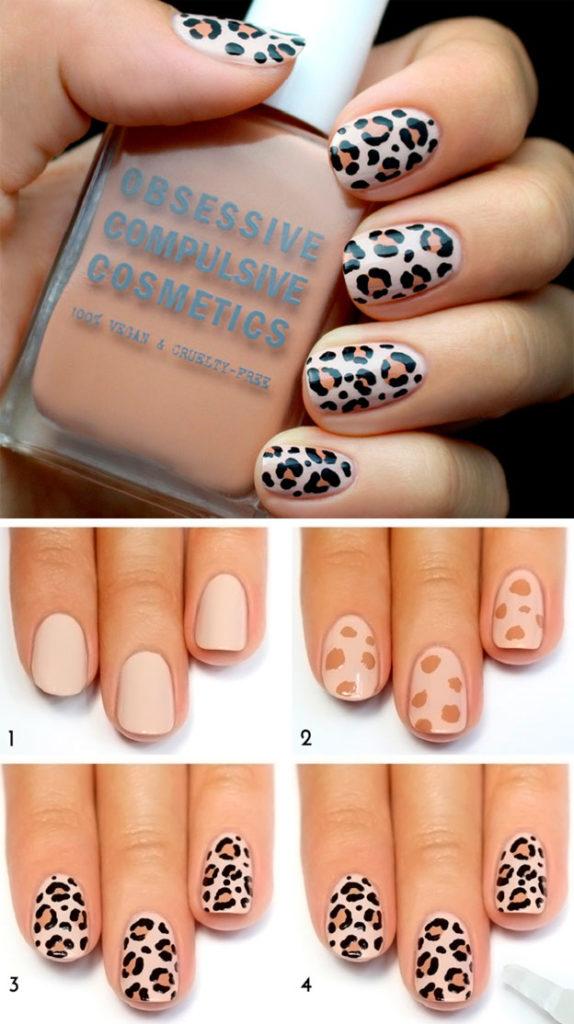 Леопардовый дизайн на короткие ногти пошагово