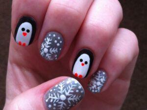 Зимний маникюр Пингвины